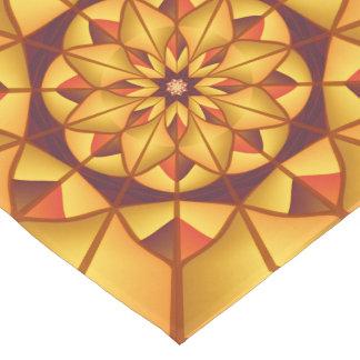 Golden geometric flourish short table runner