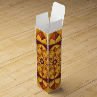 Golden geometric flourish wine gift boxes