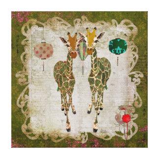 Golden Giraffes Olive Twilight Canvas