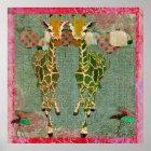 Golden Giraffes Pink Twilight  Art Poster