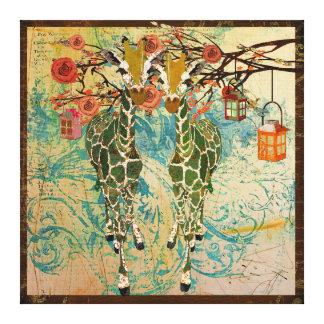Golden Giraffes Rose Garden Canvas Gallery Wrapped Canvas