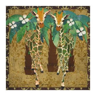 Golden Giraffes Tropicana Canvas Gallery Wrapped Canvas