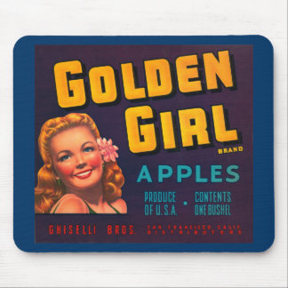 Golden Girl Brand Apples Vintage Advertisment Mouse Pad