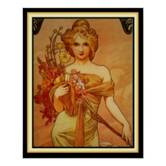 Golden Girl with Bouquet by Alphonse Mucha 16 x 20 Poster