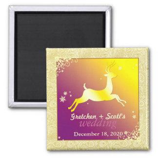 Golden Glam Reindeer Wedding Invitation Magnet