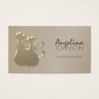 Golden Glamorous Couple Cats Wedding Simple Chic Business Card