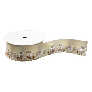 Golden Glass Holiday Reindeer Grosgrain Ribbon