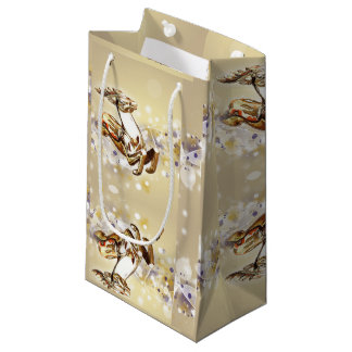 Golden Glass Holiday Reindeer Small Gift Bag
