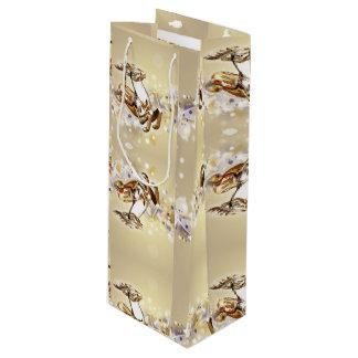 Golden Glass Holiday Reindeer Wine Gift Bag