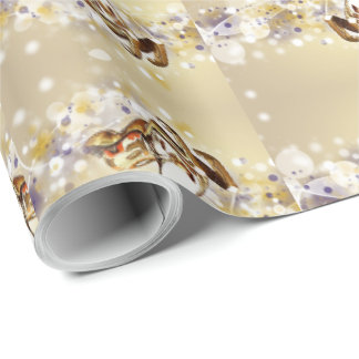 Golden Glass Holiday Reindeer Wrapping Paper