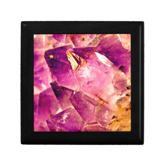 Golden Gleaming Amethyst Crystal Gift Box