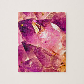 Golden Gleaming Amethyst Crystal Jigsaw Puzzle