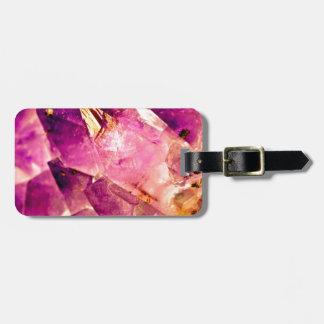 Golden Gleaming Amethyst Crystal Luggage Tag