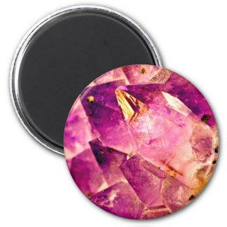 Golden Gleaming Amethyst Crystal Magnet