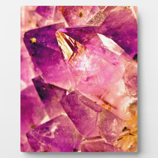 Golden Gleaming Amethyst Crystal Plaque
