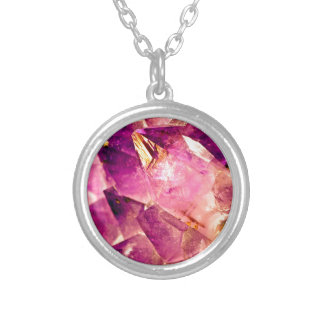 Golden Gleaming Amethyst Crystal Silver Plated Necklace