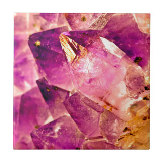 Golden Gleaming Amethyst Crystal Tile