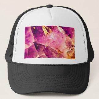 Golden Gleaming Amethyst Crystal Trucker Hat