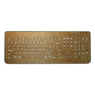 Golden Glitter Abstract Art Wireless Keyboard