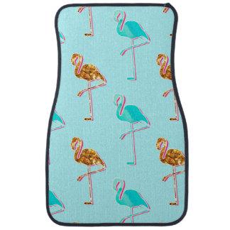 Golden Glitter and Blue Flamingo Pattern Car Carpet