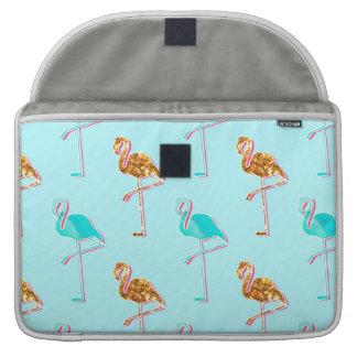 Golden Glitter and Blue Flamingo Pattern Sleeve For MacBooks
