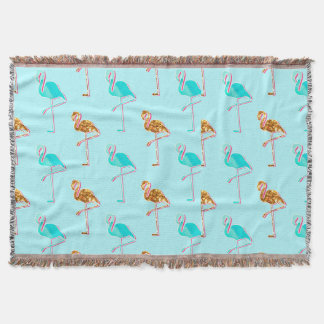 Golden Glitter and Blue Flamingo Pattern Throw