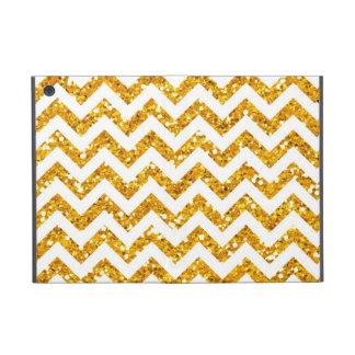 Golden Glitter Chevron Pattern iPad Mini Covers