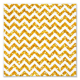 Golden Glitter Chevron Pattern Photographic Print