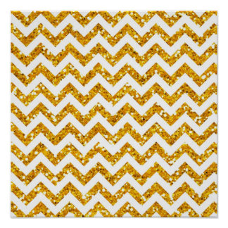 Golden Glitter Chevron Pattern Poster
