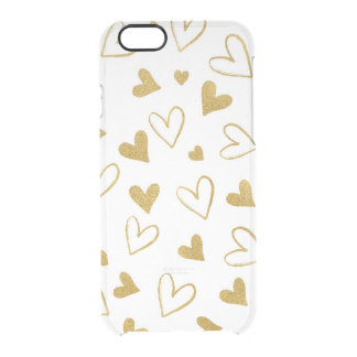 Golden Glitter Hearts Confetti iPhone Clearly™ Clear iPhone 6/6S Case