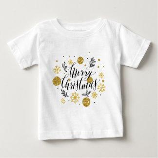 Golden glitter Merry christmas hand scripted Baby T-Shirt