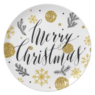 Golden glitter Merry christmas hand scripted Dinner Plates