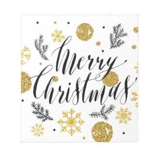 Golden glitter Merry christmas hand scripted Notepads