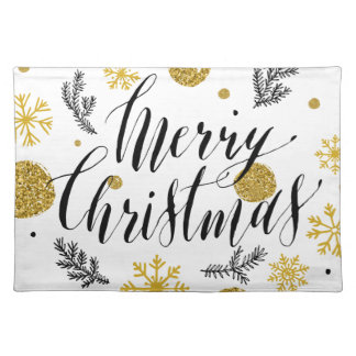 Golden glitter Merry christmas hand scripted Placemat
