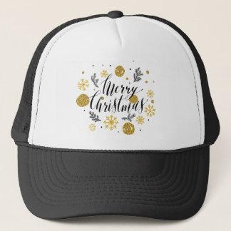 Golden glitter Merry christmas hand scripted Trucker Hat