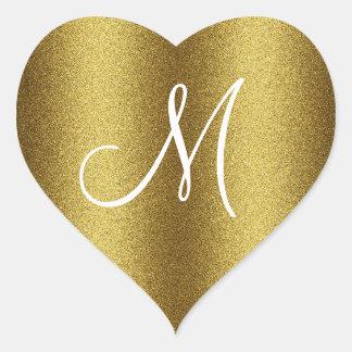 Golden Glitter Monogram Heart Sticker