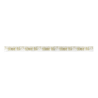 Golden Glitter Sequin Thank You Ribbon Satin Ribbon