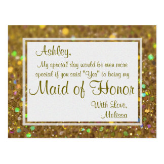 Golden Glitter - Will You Be My Maid of Honor? Postcard