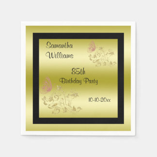 Golden Glitters & Sparkly Butterfly 85th Birthday Disposable Napkin