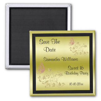 Golden Glitters & Sparkly Butterfly Sweet 16 Square Magnet