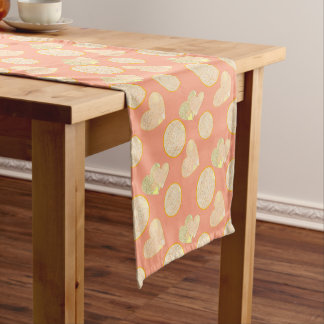 Golden glittery hearts short table runner
