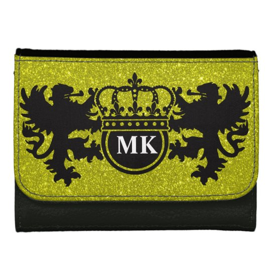 Golden Glitz Lion Crest Monogram Leather Wallet