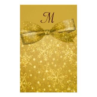 Golden Glitz & Shimmer Snowflakes Wedding Custom Stationery