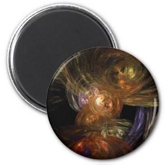 Golden Globe Abstract Art 2 Inch Round Magnet