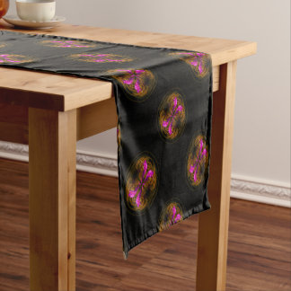 Golden globe flowers short table runner