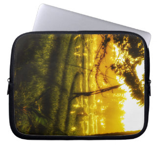Golden Glow of Late Afternoon on Balinese Rice Fie Laptop Sleeve