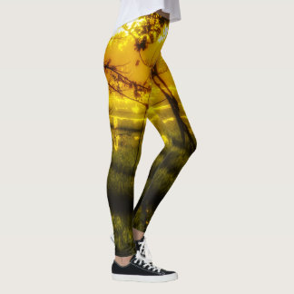 Golden Glow of Late Afternoon on Balinese Rice Fie Leggings