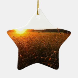 Golden Glow of Sunset Ceramic Star Ornament