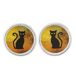 Golden Glow Textured Black Cat Kittens Cuff Links