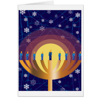 Golden Glowing Hanukkah Menorah Greeting Card